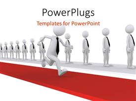 PowerPoint template displaying 3D man running the success way with others lined up on different path