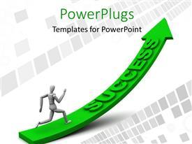PowerPoint template displaying 3D man running up green success arrow over digital background