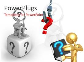 PowerPlugs: PowerPoint template with 3D man seek answer in book with question mark symbol hanging