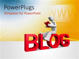 PowerPlugs: PowerPoint template with 3D man sits on red colored BLOG with internet terms in background