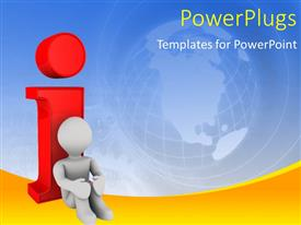 PowerPlugs: PowerPoint template with 3D man sitting with back against red information icon