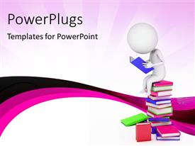 PowerPlugs: PowerPoint template with 3D man sitting on pile of colored books reading