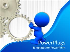 PowerPlugs: PowerPoint template with 3D man spinning a gear on blue and white background