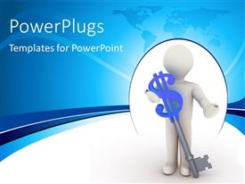 PowerPlugs: PowerPoint template with 3D man standing beside large key with blue dollar symbol