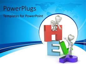 PowerPlugs: PowerPoint template with 3D man standing on platform lends HELPING hand to friend