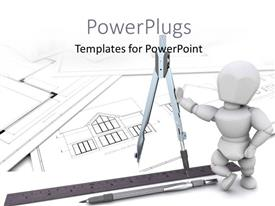 PowerPlugs: PowerPoint template with 3D man stands on architectural drawing with construction equipments