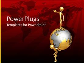PowerPoint template displaying 3D man stands on earth globe with world map in red background