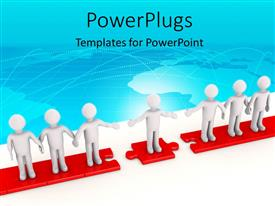 PowerPlugs: PowerPoint template with 3D man stretches hand to bridge gap between two teams