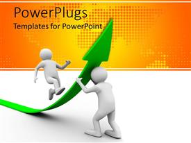 PowerPoint template displaying 3D man supporting green arrow with another running up