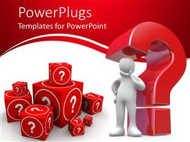 PowerPlugs: PowerPoint template with 3D man surrounded by different blocks of question marks, red and white color background