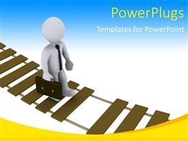 PowerPlugs: PowerPoint template with 3D man walking on damaged suspension bridge depicting business risk