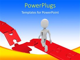 PowerPlugs: PowerPoint template with 3D man walking towards damaged part of red puzzle bridge