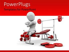PowerPoint template displaying 3D man with weight lifting equipments and dumbbells on red