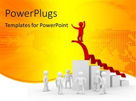 PowerPlugs: PowerPoint template with 3D men gazing at successful man on highest bar of bar chart