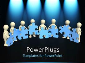 PowerPoint template displaying 3D men holding jigsaw puzzle pieces on black background