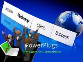 PowerPlugs: PowerPoint template with 3D men with laptop showing financial chart indicating success and globe