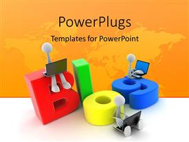 PowerPlugs: PowerPoint template with 3D men with laptops sit on colored letters forming BLOG