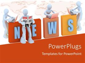 PowerPlugs: PowerPoint template with 3D men leaning towards 3D NEWS reading from newspaper and laptop
