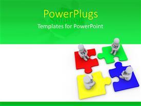 PowerPlugs: PowerPoint template with 3D men sitting on jigsaw puzzle pieces over green and white background