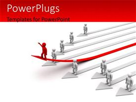 PowerPlugs: PowerPoint template with 3D men standing on arrows with distinct red man on elevated red arrow