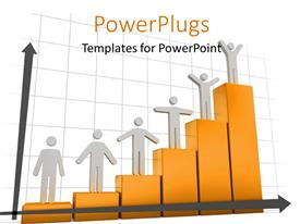 PowerPlugs: PowerPoint template with 3D men standing on bars of success bar chart