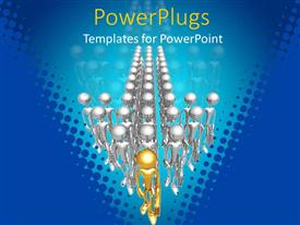 PowerPlugs: PowerPoint template with 3D men standing with briefcase in handand gold plated leader form arrow