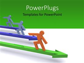 PowerPoint template displaying 3D men standing on colored arrows over white and green background