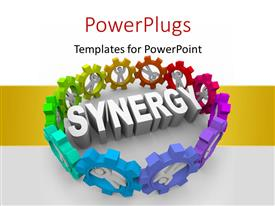 PowerPlugs: PowerPoint template with 3D men standing in gears surround rendered word SYNERGY