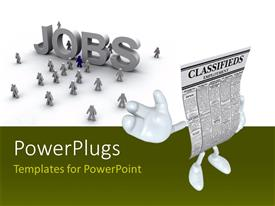 PowerPoint template displaying 3D job seekers on white background with CLASSIFIEDSemployment character
