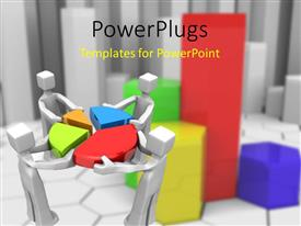 PowerPlugs: PowerPoint template with 3D men working as team putting colorful pie chart pieces together