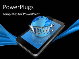 PowerPoint template displaying 3D mobile phone with globe and News keyword on black background