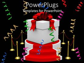 PowerPoint template displaying a 3D model of a gift box placed on a podium