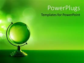 PowerPlugs: PowerPoint template with 3D model of green glass globe on green background