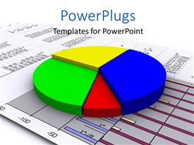 PowerPlugs: PowerPoint template with a 3D multi colored pie chart on a graph paper