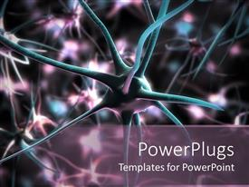 PowerPoint template displaying 3D neuron cells medical and research background