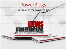 PowerPlugs: PowerPoint template with 3D news papers with a text that spell out the words 'news financial'