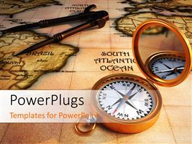 PowerPlugs: PowerPoint template with 3D Old compass on antique map