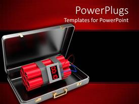 PowerPoint template displaying 3D open suitcase with dynamite bomb inside it on black and red background