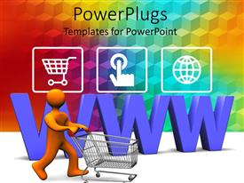 PowerPlugs: PowerPoint template with 3D orange figure driving a shopping cart with purple www letters in the back and three depictions of online shopping on rainbow squared pattern background