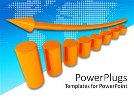 PowerPlugs: PowerPoint template with 3D orange metallic column diagram with orange arrow rising upwards the columns
