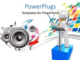PowerPlugs: PowerPoint template with 3D Orchestra conductor stands on blue podium with speakers and music symbols