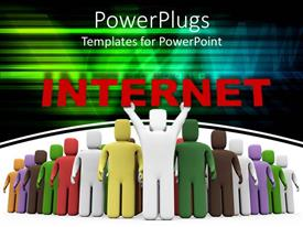 PowerPoint template displaying 3D people from different races brought closer through the Internet
