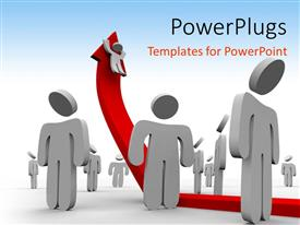 PowerPlugs: PowerPoint template with 3D people look up at man climbing upward red arrow