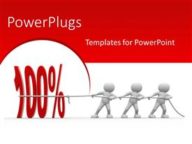 PowerPlugs: PowerPoint template with 3D people pulling number 100 percent to success with red color
