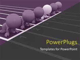 PowerPoint template displaying 3D people set on your marks ready to race with race course
