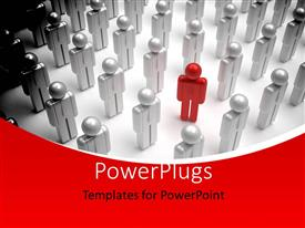 PowerPoint template displaying a 3D person in red stands out from the crowd with red curve