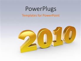 PowerPoint template displaying 3D perspective of year 2010, with gradient