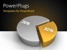 PowerPlugs: PowerPoint template with 3D pie chart representing shares as 30 and 70 percent with brown color