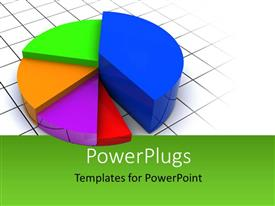 PowerPoint template displaying 3D pie diagram, with green color