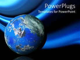 PowerPoint template displaying 3D planet earth, globe on blue and black background